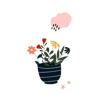 Simpatico fiore in vaso sbocciante disegnato a mano. modello accogliente in stile scandinavo hygge per cartoline, poster, biglietti di auguri, t-shirt per bambini. illustrazione vettoriale in stile cartone animato piatto