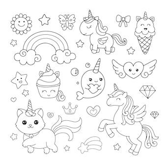 Carino disegnato a mano unicorni doodle icona per libro da colorare