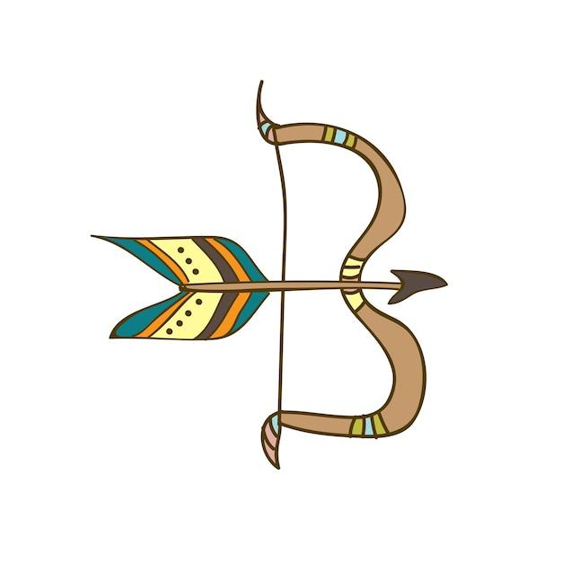 Illustrazione vettoriale carino disegnato a mano, arco e freccia in stile scarabocchio