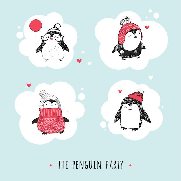 Disegnato a mano sveglio, insieme dei pinguini di vettore