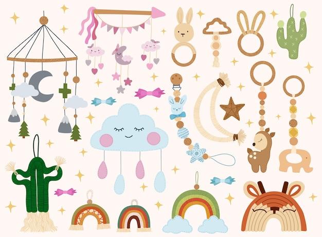 Simpatici giocattoli per bambini ecologici fatti a mano in stile scandinavo illustrazione del fumetto degli elementi della doccia di bambino
