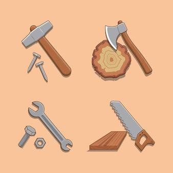 Carino tuttofare collezione di attrezzi martello e chiodi ascia chiave sega