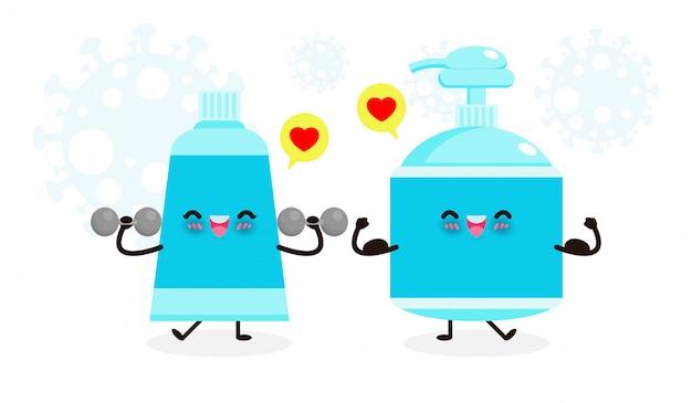 Esercizi di gel alcolici felici e carini con manubri e forte gel per il lavaggio delle mani mostrano i muscoli. protezione contro il coronavirus (2019-ncov) o covid-19 e batteri stile di vita sano isolato su sfondo bianco