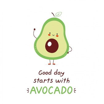 Simpatico avocado felice. isolato su bianco progettazione dell'illustrazione del personaggio dei cartoni animati di vettore, stile piano semplice. la buona giornata inizia con la carta di avocado.