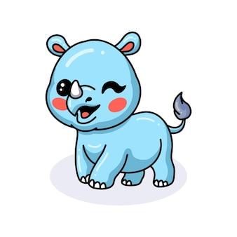 Simpatico cartone animato rinoceronte felice