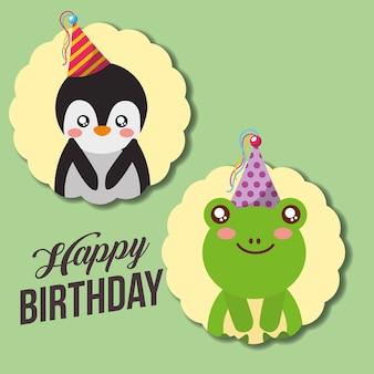 Carta di buon compleanno carino divertente pinguino e rana