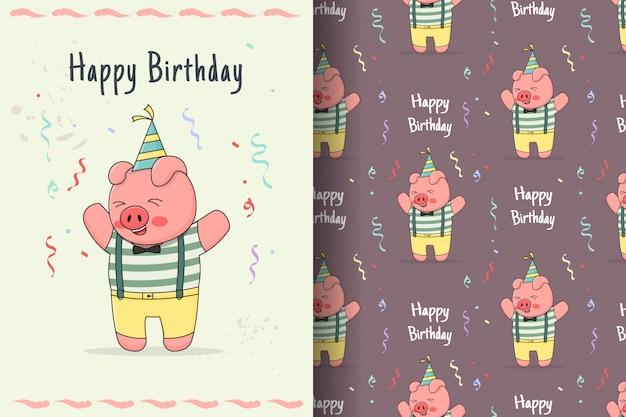 Carino buon compleanno piggy seamless pattern e carta
