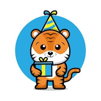 Simpatica illustrazione di cartone animato tigre di buon compleanno