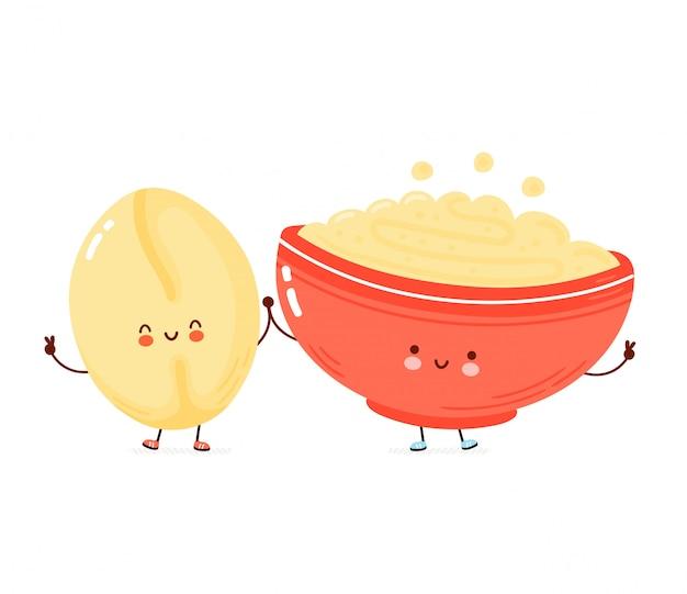 Ciotola felice carina di porridge di farina d'avena e chicco di avena. illustrazione di stile disegnato a mano del personaggio dei cartoni animati. concetto di tazza colazione avena