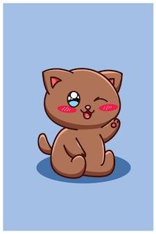 Un simpatico e felice cartone animato gatto marrone