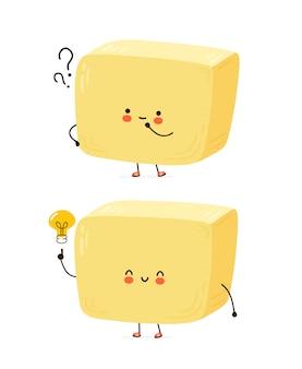Simpatico personaggio di burro felice con punto interrogativo e lampadina idea. isolato su sfondo bianco personaggio dei cartoni animati disegnati a mano illustrazione stile