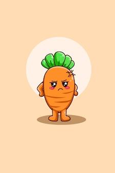 Illustrazione di cartone animato carota carino e felice
