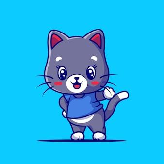 Cartone animato carino gatto felice isolato sull'azzurro