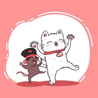 Simpatico personaggio felice di gatto e topo.