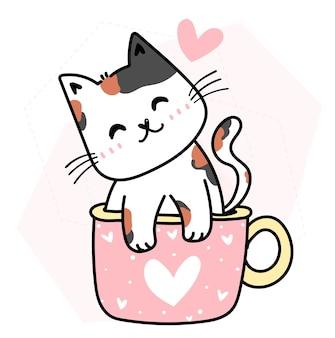 Gatto felice sveglio nel profilo rosa di doodle del fumetto di san valentino della tazza del cuore
