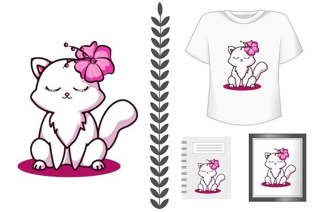 Gatto carino e felice con illustrazione di cartone animato fiore