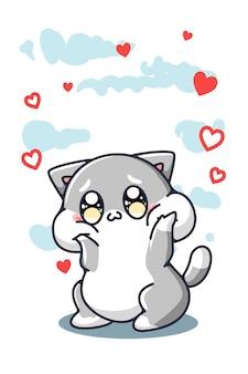 Un gatto carino e felice con l'illustrazione del fumetto dei cuori