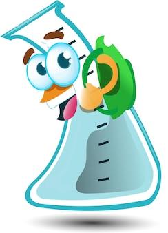 Simpatico bicchiere chimico felice con zaino personaggio mascotte dei cartoni animati