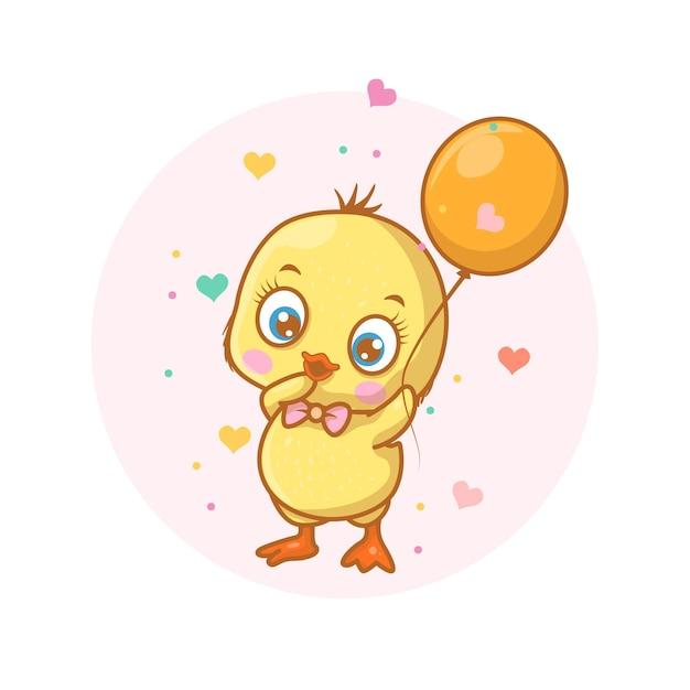 Simpatico pulcino felice con illustrazione di palloncino