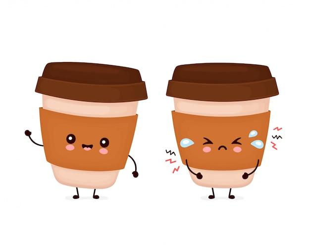 Tazza di carta di caffè felice carino felice e triste. personaggio dei cartoni animati.