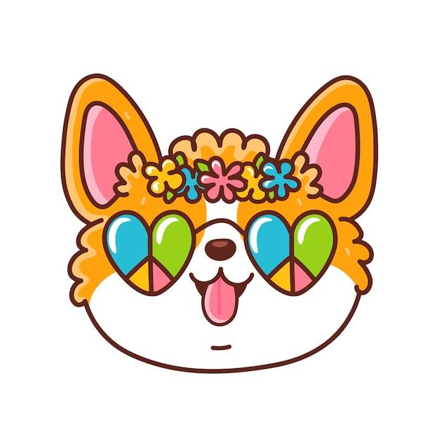 Faccia di cane carino corgi felice con occhiali hippie e ghirlanda di fiori