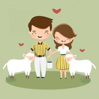Coppie felici sveglie che alimentano alimento alle pecore