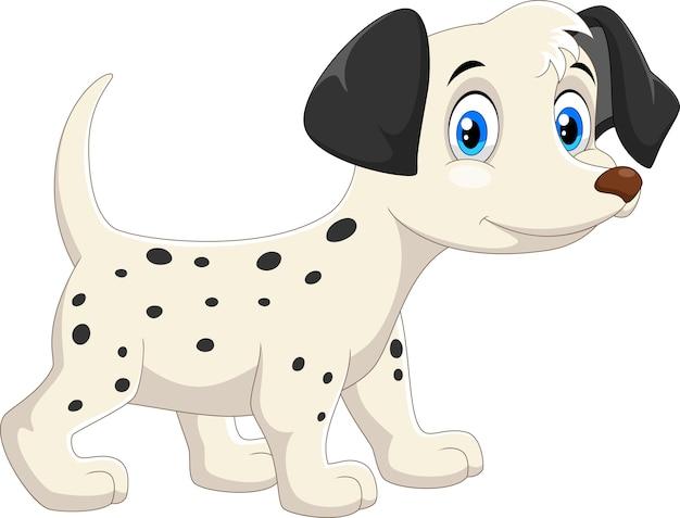 Cartone animato carino cane dalmata felice