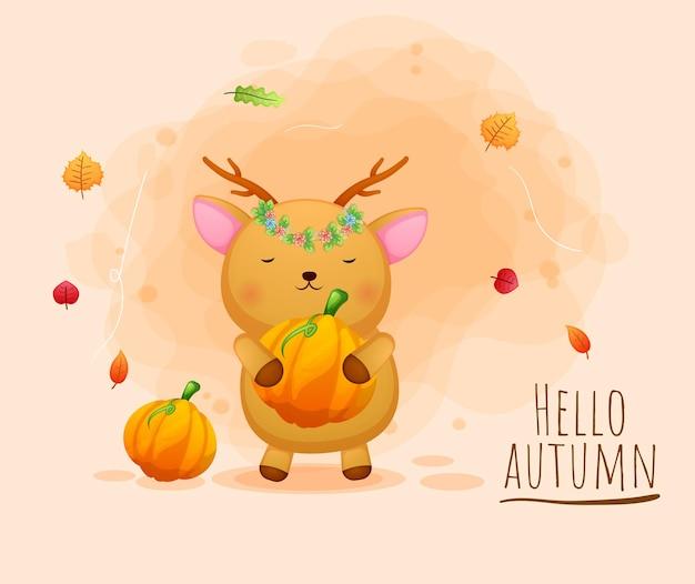Simpatico personaggio dei cartoni animati di cervo felice autunno