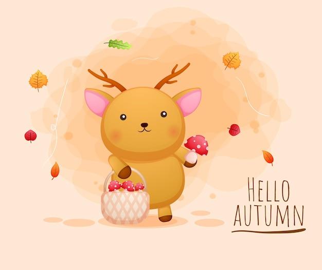 Simpatico cervo felice con funghi nel cesto autunno