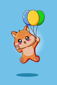 Cane carino e felice con l'illustrazione animale del fumetto dell'aerostato