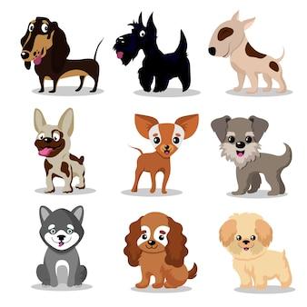 Simpatici cani felici. collezione di personaggi dei cartoni animati divertenti cuccioli