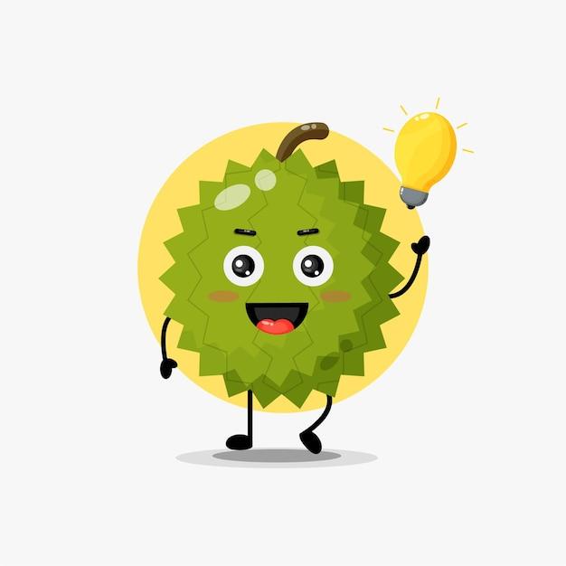 Simpatico personaggio durian felice con l'idea della lampadina