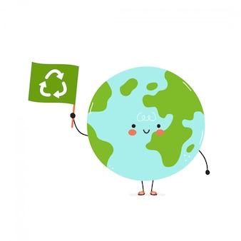 Pianeta terra felice carino con bandiera di riciclaggio. carta ecologica.