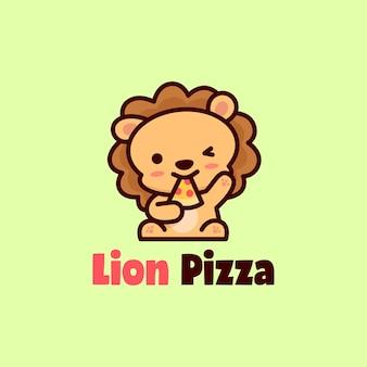 Sveglio faccia felice leone mangia pizza mascot logo