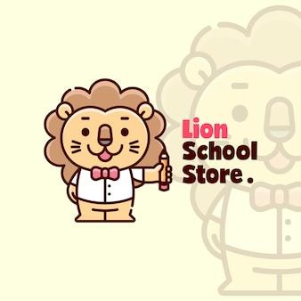 Leone sveglio felice in piedi e portare a matita il logo dei fumetti