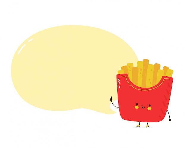 Patatine fritte felici sveglie con il fumetto. isolato su sfondo bianco. illustrazione di stile disegnato a mano del personaggio dei cartoni animati