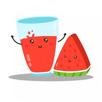 Disegno di vettore di succo di anguria fresca felice carino