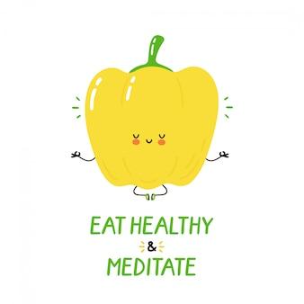 Il peperone dolce divertente felice sveglio medita. progettazione dell'illustrazione del personaggio dei cartoni animati di vettore. isolato. meditazione, concetto di cibo sano