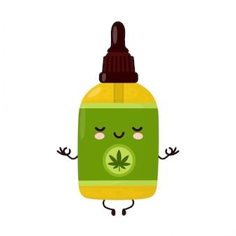 La bottiglia di olio di cbd di cannabis divertente felice e carina medita. personaggio dei cartoni animati illustrazione icona design.isolated