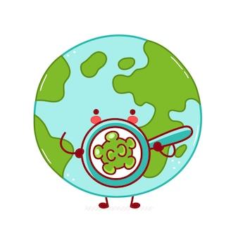 Simpatico personaggio divertente felice del pianeta terra guarda i batteri nella lente d'ingrandimento. disegno dell'icona dell'illustrazione del personaggio dei cartoni animati. isolato su sfondo bianco