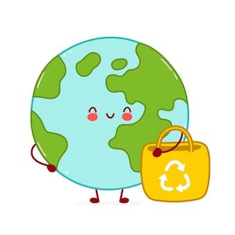 Simpatico personaggio divertente felice pianeta terra con borsa eco. disegno dell'icona dell'illustrazione del personaggio dei cartoni animati. isolato su sfondo bianco
