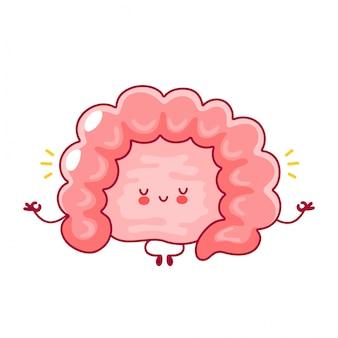 L'organo dell'intestino umano divertente felice sveglio medita nella posa di yoga.