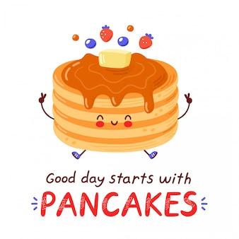 Frittelle divertenti felici sveglie. illustrazione di stile disegnato a mano del personaggio dei cartoni animati isolato. la buona giornata inizia con la carta dei pancake