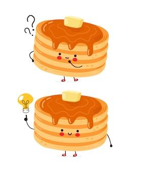 Frittelle divertenti felici sveglie con il punto interrogativo e la lampadina di idea