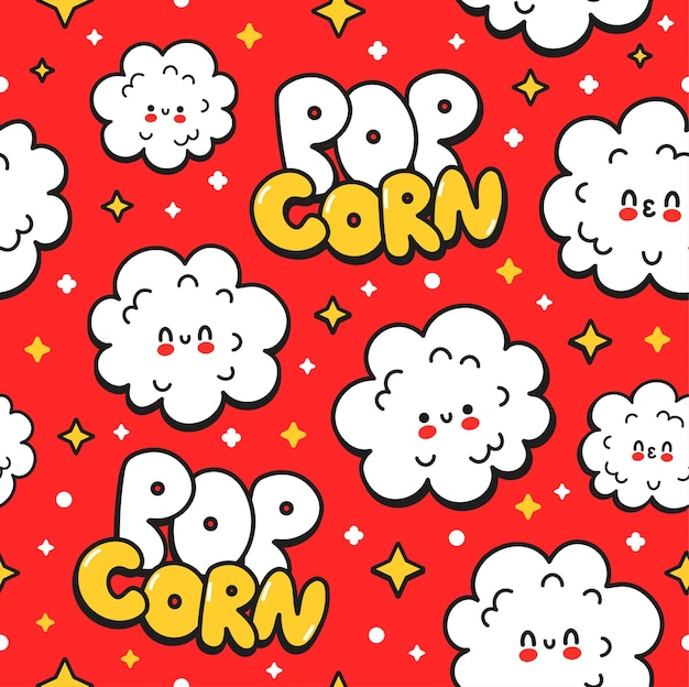 Reticolo senza giunte sveglio felice divertente popcorn su sfondo rosso. icona del logo dell'autoadesivo dell'illustrazione del personaggio dei cartoni animati dei cartoni animati disegnati a mano di vettore. concetto di cartone animato carino felice popcorn senza cuciture