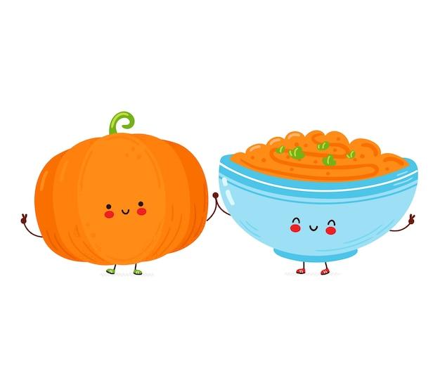 Tazza di zucca e porridge divertente felice carina. isolato su sfondo bianco. illustrazione disegnata a mano di stile del personaggio dei cartoni animati