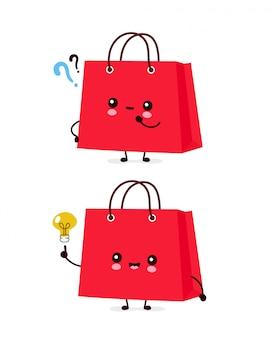 Sacchetti della spesa divertenti felici svegli con i punti interrogativi e la lampadina. personaggio dei cartoni animati illustrazione icona design.isolated