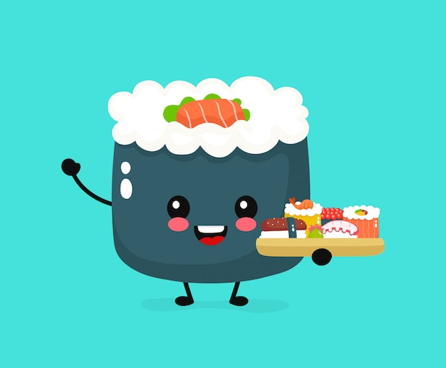 Sushi sorridenti divertenti felici svegli svegli, rotolo. disegno dell'icona di personaggio dei cartoni animati piatto. cucina asiatica, giapponese, cibo di porcellana. carattere di sushi giappone, concetto di consegna