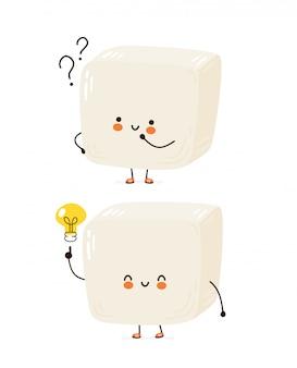 Tofu divertente felice carino. personaggio dei cartoni animati disegno a mano illustrazione di stile. isolato su sfondo bianco