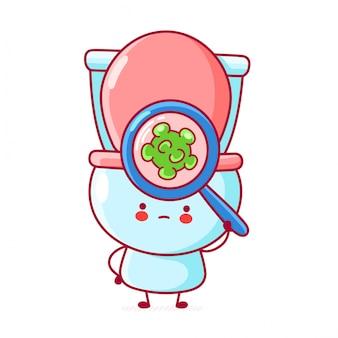 La toilette divertente felice sveglia guarda i batteri nella lente d'ingrandimento.